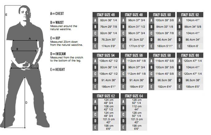 European-US size chart - man women size