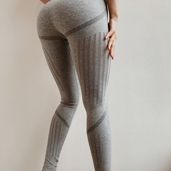 Beautiful Gray Gym Leggings With Mesh/Tiny Cut Out In Rows