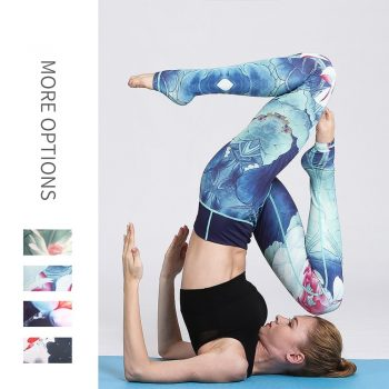 flora fauna printed gym leggings