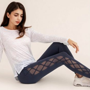 cris-cross mesh yoga pants