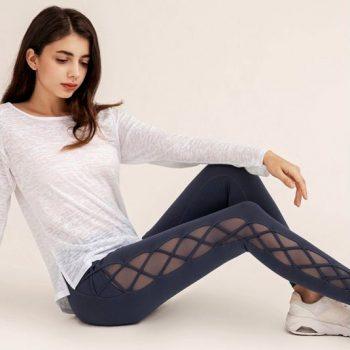 cris-cross mesh yoga pants