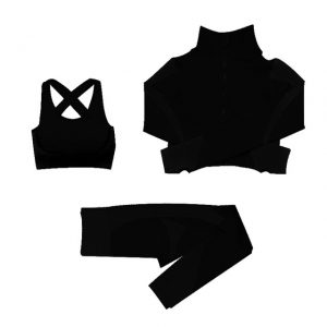 Gym Leggings with Abdomen Belt Black Color sets